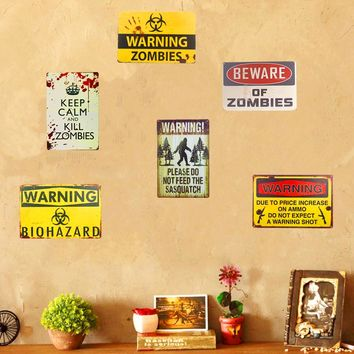 Warning Zombie Sasquatch Tin Metal Sign Plaque Bar Vintage Retro Wall Decor Poster Home Wall Decor