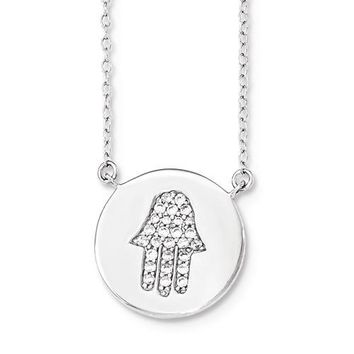 Sterling Silver Hamsa Disc CZ Pendant Necklace