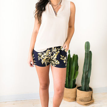 Perfect Places Tropical Print Shorts - Navy