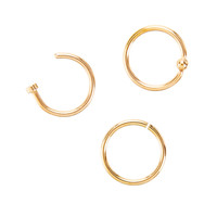 Steel Rose Gold Seamless Captive & Open Nose Hoop 3 Pack