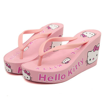 New Summer Wedge Flip Flops for Women's Sandals hello kitty Embellished Cute Design Beach Slippers Women Shoes Free Shipping