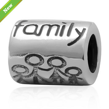 "New 925 sterling silver tube charm beads ""Family"" Fits for Pandora Bracelets jewelry free shipping"