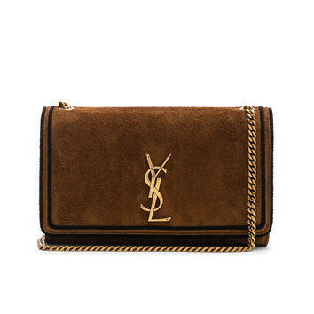 Saint Laurent Medium Suede Monogramme Kate Chain Bag in Mocha & Black | FWRD