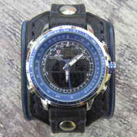 Navy Blue Leather Watch, Leather Watch Cuff, Gift for Him
