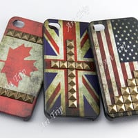 iPhone 4 Case, iphone 4s case -- Vintage Flags studded iphone 4 case,England Flags studded iphone 4 case, Canda Flags iphone 4 case, SALE