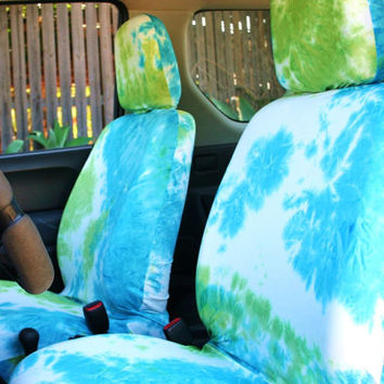 Car seat covers for adult car seat, white blue green tie dye, free gift wrap!! (pair of covers for front seats)