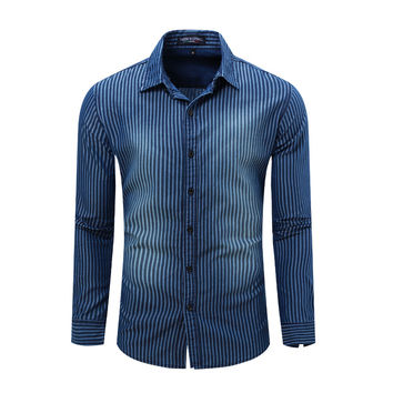 Europe Size Men's Denim Striped Shirt New Dress Shirts Male Shirt Long Sleeve Mens Jean Shirt Classic Fashion Casual Tops 082