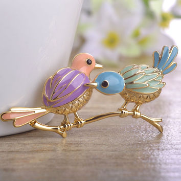 Fashion Jewelry Enamel Vivid CP Birds Brooches For Kids Women Men Ouro Colorful Broches Hijab Pins Scarf Dress Christmas Bijoux