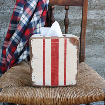 FREE SHIP Grain Sack Stripe Rustic Distressed  Wood Tissue Box Holder Cover Square
