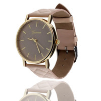 Unisex Casual Geneva Checkers Faux Leather Quartz Analog Wrist Watch