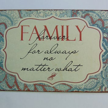 Family Forever Tin Metal Wall Home Décor Sign