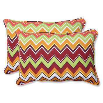 Pillow Perfect 543079 Green and Pink Outdoor Zig Zag Raspberry Over-sized Rectangular Throw Pillow, Set of 2