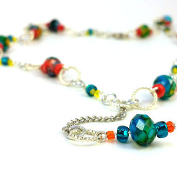 Colorful Czech Beaded Loop Through Necklace, Faceted Czech Glass Beads, Silver Chain Loop Necklace, Slip Necklace, Christmas Necklace