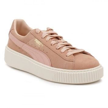 PUMA Womens Coral/White Suede Platform Trainers