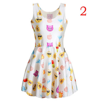 Style Women Dress Sexy Cute Easiness Printed Emoji Dresses Jumper O-Neck SM6