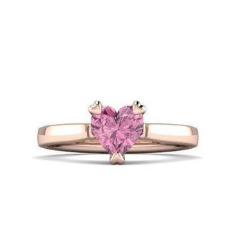Heart Pink Tourmaline Gemstone Engagement Ring Platinum Ring 14k 18k White Gold Rose Gold, Alternate Promise Ring Wedding Ring by HALOGLYPH