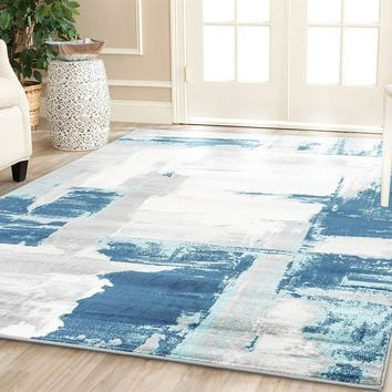 2108 Blue Abstract Contemporary Area Rugs