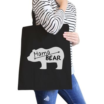 Mama Bear Black Canvas Tote Bag Trendy Design Cute Gifts for Her