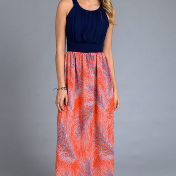 Spring Bliss Maxi Dress - Coral and Navy Feather