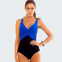 Deep V Color Block One Piece Swimsuit