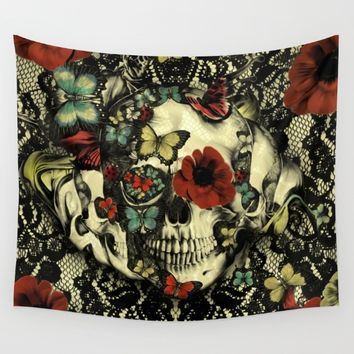 Vintage Gothic Lace Skull Wall Tapestry by Kristy Patterson Design