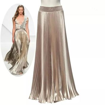 2017 spring and summer women new fashion pleated long women skirt fashion solid flared  maxi skirt for women