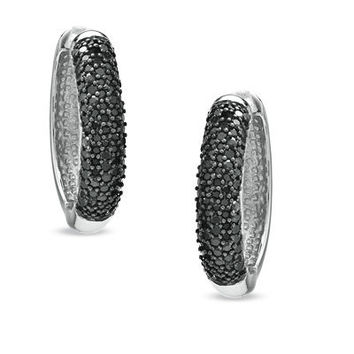 1 CT. T.W. Enhanced Black Diamond Hoop Earrings in Sterling Silver - Save on Select Styles - Zales