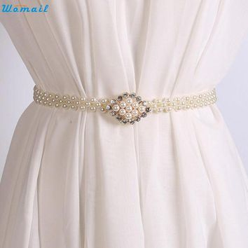 Newly Design Women's Fashoin Elegant Faux Pearl Beads Rhinestone Charms Waist Belt Strap 160616 Drop Shipping