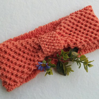 Knit Headband,Turban,Coral Orange,Knit Cotton Headband,Handmade Headband,Spring Headband,Trendy Hair Wrap,Knit Women Accessory,Gift for Her