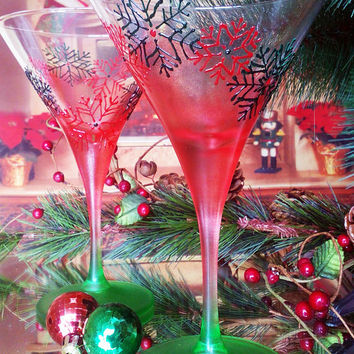 Set of 2 Winter Christmas hand painted martini glasses Red and Green snowflakes