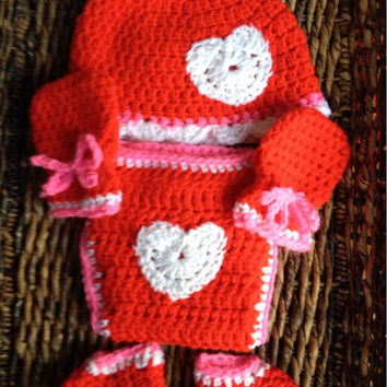 Newborn Baby Crochet Red Love Heart Gift Set