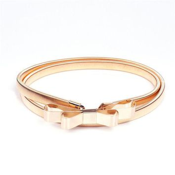 ONETOW 2016 Hot sales women belt metal bow thin elastic belt golden /sliver elastic waistband chain BL01