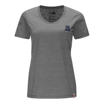 Women's Short Sleeve Americana Pocket Tee in TNF Medium Grey Heather and True Navy by The North Face - FINAL SALE