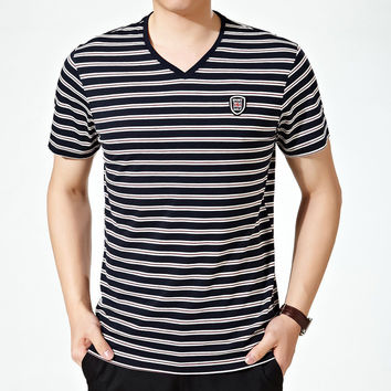 Summer Stylish Casual Stripes V-neck Men's Fashion Men Short Sleeve T-shirts [6544178563]