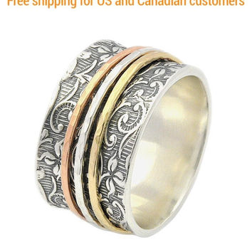 Spinner Ring for women, Silver and Gold ring, Leaf Spinner Ring, Meditation Ring, Fidget Ring, Worry Ring, Triple Spinner Ring, anxiety ring