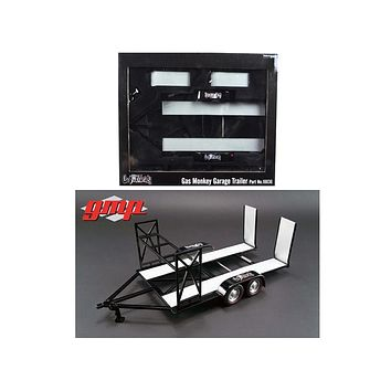 Tandem Car Trailer with Tire Rack Gas Monkey Garage 1/18 Diecast Model by GMP