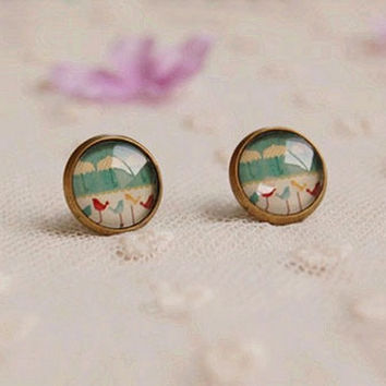 Bohemian Mini Stud Earrings for Girls Glass Cabochon Earrings Vintage Jewelry Antique Bronzed, Spring Jewelry, bridesmaid