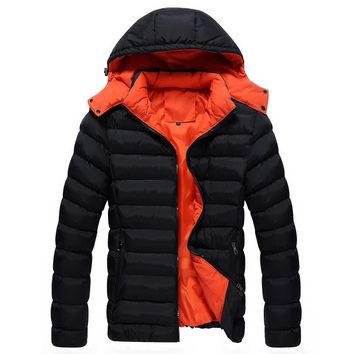 Autumn Winter New Men's Casual Thickening Warm Hooded Long-sleeved Business Zipper Cotton Down Jacket for Men's Outwear Coat 4XL