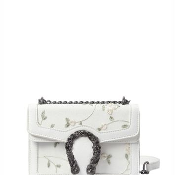 Floral Embroidered Chain Crossbody Bag