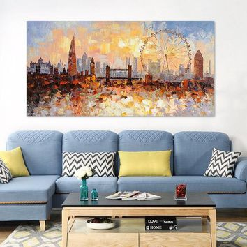 Original London city Skyline painting On Canvas art modern art impasto heavy texture cityscape Large wall pictures oil painting home decor