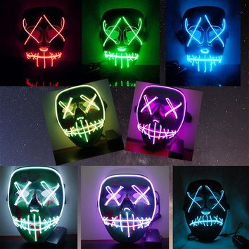 LED Light Mask Up Funny Mask from The Purge Election Year Great for Festival Cosplay Halloween Costume Cosplay Party Decor
