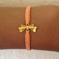 Bow Charm Friendship Bracelet in Coral