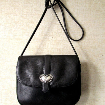 Crossbody Mini Bag black leather long strap purse silver heart concho small handbag vintage 80s 90s Brighton style saddle bag