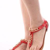 RED FAUX LEATHER CHAIN LINK T-STRAP FLAT SANDALS