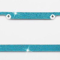 Blue Crystal Rhinestone license Plate Frame With Crystal Screw Caps