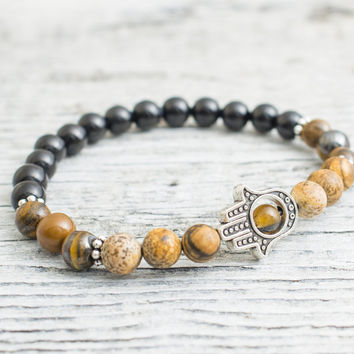 Tiger eye, jasper stone and black onyx beaded stretchy silver Hamsa hand bracelet, custom made yoga bracelet, mens bracelet, womens bracelet