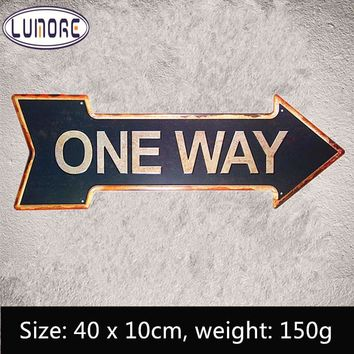 """ ONE WAY "" Arrow signs Irregular Plaque Retro Metal Tin sign Man Cave Home Decor Craft Wall Painting"