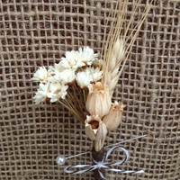 Handmade Wedding Boutonnieres - Blond Wheat Boutonnieres, Star Flower Boutonnieres, Florentine Pods Boutonnieres, Country Rustic