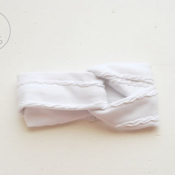 Chunky WHITE Baby Turban Headband Super Soft Baby Headband White Toddler Headband