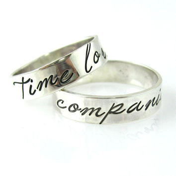 Doctor Who Wedding Bands - Time Lord & Companion - Solid Sterling Silver Wedding Rings